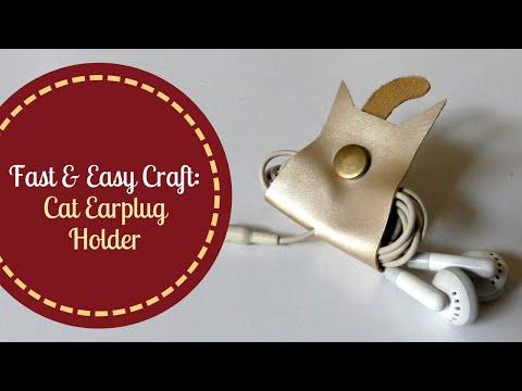 DIY Faux Leather No Sew Tutorial: Cat Earplug Holder