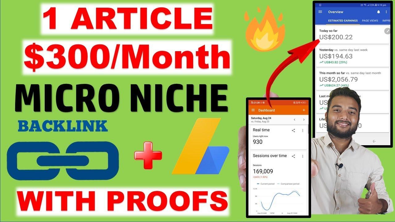 Earn $300/Month From MICRO NICHE BLOG IDEA Using ADSENSE & CREATE BACKLINKS Screenshot Download