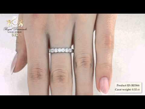 Diamantringe - RD366W - 18kt Weissgold Ring mit sieben runden Brillanten