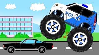 Новый эпизод из серии мультфильмов для детей про машинки. В этом мультфильме полиция пытается остановить нарушителя на черном автомобиле. Они использую для этого монстртрак, патрульную машинки и вертолет. Давайте смотреть мультфильм