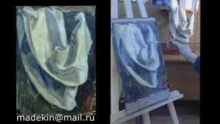 Смотреть онлайн Как изобразить гуашью драпировку ткани