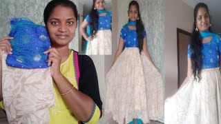 Full circle umbrella dress cutting with old dress part-1in Telugu