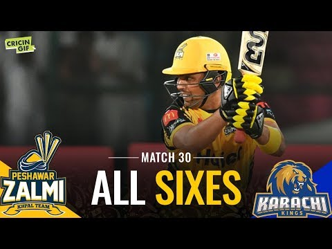PSL 2019 Match 30: Peshawar Zalmi vs Karachi Kings | PEL ALL SIXES