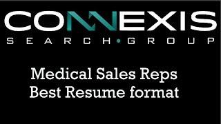 Medical Sales Rep Sample Resume