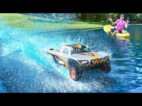 HUGE RC CAR DRIVES ON WATER!!