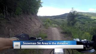 This is the famous Deadline descent on Sky Mt. in Snowmass Village. This was designed and built as a cross country friendly one-way only descent. You still have to climb about 20 minutes to get to the start though.