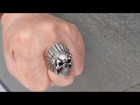 Chopper Biker Motorcycle Ring Men/'s .925 Sterling Silver Indian Chief Head