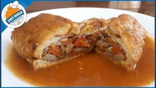 Pechuga de pollo rellena con verduras en salsa de 2 chiles | Chef Roger