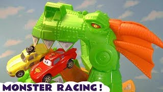 Hot Wheels Monster Racing with Cars 3 McQueen vs Marvel Avengers 4 and DC Comics Superheroes