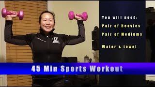 Sports HIIT April- Medium + Heavy weights 45 min