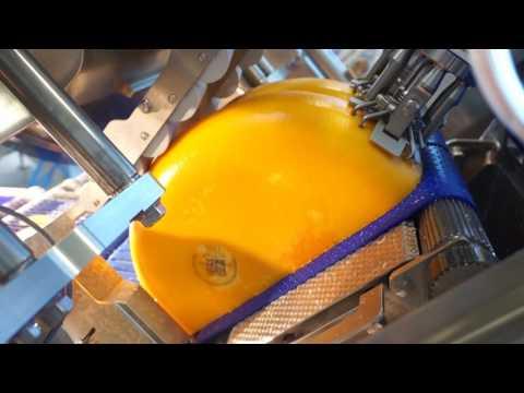 Cheese wheel slicing with Interleaver_Halbrundkäse_TS700 slicer
