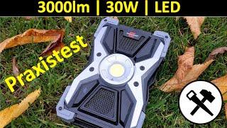 Praxistest  30W / 3000lm LED Akku Baustrahler RUFUS 3010MA Brennenstuhl Bluetooth Powerbank