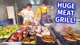 Thai Street Food - HUGE MEAT BBQ!! Sausage Coils + Curry Noodles in Mae Sariang, Thailand!