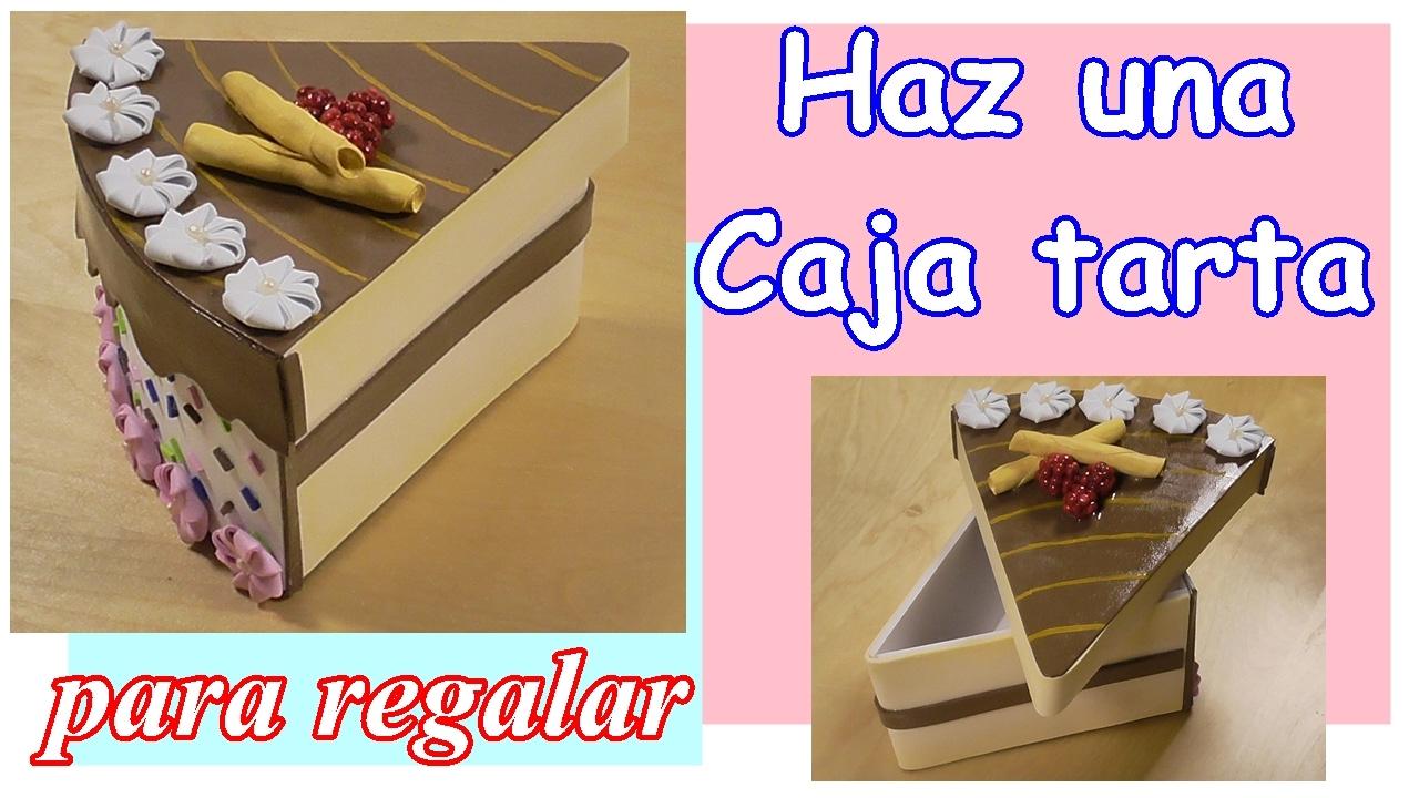 Cómo hacer una caja tarta para regalo. Con cartón y foamy - goma eva