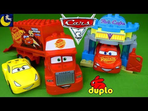 Lego Duplo Disney Cars 3 Toys Mack Hauler Lightning McQueen Cruz Ramirez Race Cars Flo's Cafe Toys