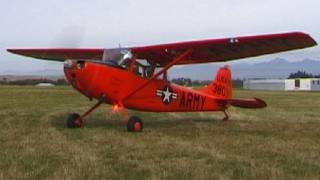 Cessna L-19 Bird Dog Start, Taxi & Takeoff