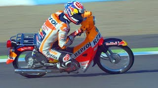 Haha! FUNNIEST RACE of Marc Marquez vs Dani Pedrosa of MotoGP allowed to use to small bikes?