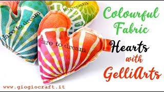 Colorful Fabric Hearts With GelliArts®