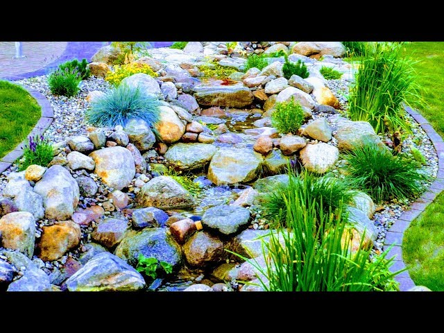 HOW TO BUILD NATURAL GARDEN STREAM WITH WATERFALL+LIGHT+CROSS PATH+BOULDERS+LINER+POND-PUMP+FEATURES