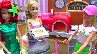 Play-Doh Barbie PIZZA Shop Disney Princess Ariel Rapunzel Take out Pizza Cooking How to make Pizza