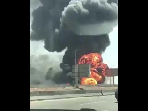 انفجار خط رئيسي للغاز يحدث حريقاً هائلاً بدائري القاهرة