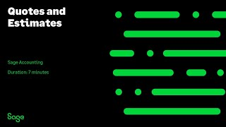 Sage Business Cloud Accounting (formerly Sage One) U.S. - Quotes And Estimates