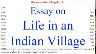 "Essay, Paragraph on ""Life in an Indian Village "" English Essay for Class 8, 9, 10 and 12"