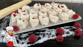 Milchreis - Sushi mit Himbeeren im Kokos Mantel *einfaches Rezept* | die PÜFFCHENS