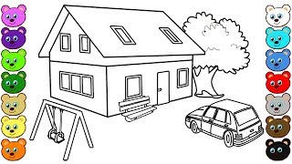 3D House Courtyard Coloring Pages for Kids
