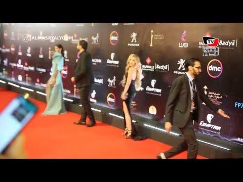 هنا الزاهد دون أحمد فهمي ونادية الجندي على السجادة الحمراء في افتتاح مهرجان القاهرة السينمائي