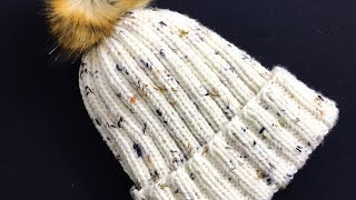 Easy Knit Ribbed Hat For Adult Men and Women, How to knit for beginners, Knitting for Baby