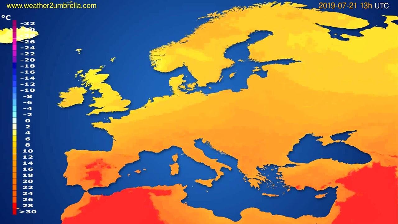 Temperature forecast Europe // modelrun: 12h UTC 2019-07-19