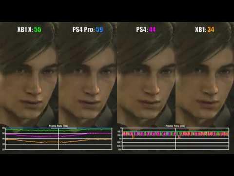 RESIDENT EVIL 2 Remake XBOX ONE X VS PS4 Pro 4K Comparison