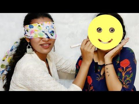 Blindfold makeup challenge!!FT Blushwithash   Malayalam  
