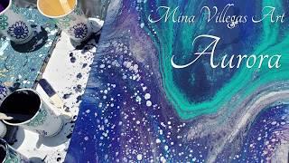 Aurora ✨ Beautiful Straight Pour in Arteza Blues and DecoArt Soft Gold! 🎇