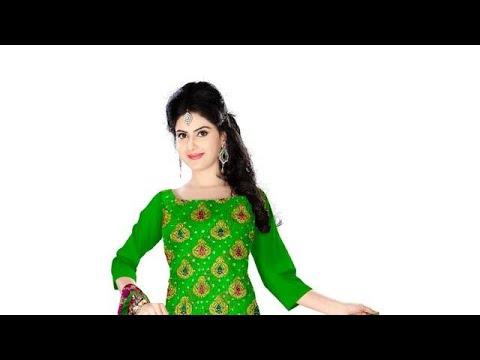 Parrot Green And Rani Color Fancy Design Gadhwal Bandhani Dress Material