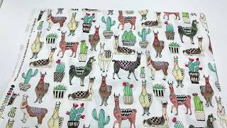 white Michael Miller fabric colorful llama animal cactus Lovely Llamas