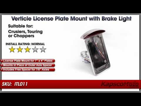 Side Mounted Verticle License Plate Assembly With Taillight, Brake Light And License Plate Light