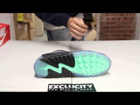 """Nike Air Max 90 ICE QS """"Black/ Cool Grey/ Blue"""" Unboxing Video at Exclucity"""