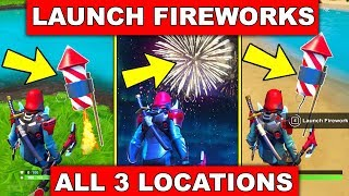 Launch Fireworks Found Along the River Bank - ALL 3 LOCATIONS 14 DAYS OF SUMMER CHALLENGES FORTNITE