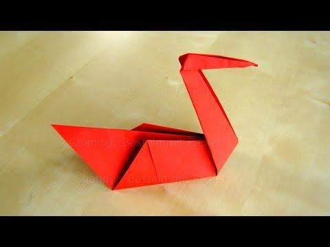 Origami Schwan basteln mit Papier - Bastelideen: Tiere falten mit Kindern