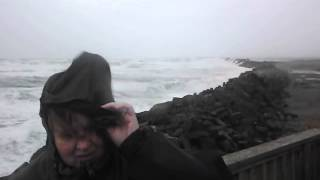 Crazy Winds blowing wife around on South Jetty at Oregon Coast