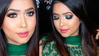 Eid Makeup- Green Glittery Smokey Eye Tutorial | Collaboration 2018