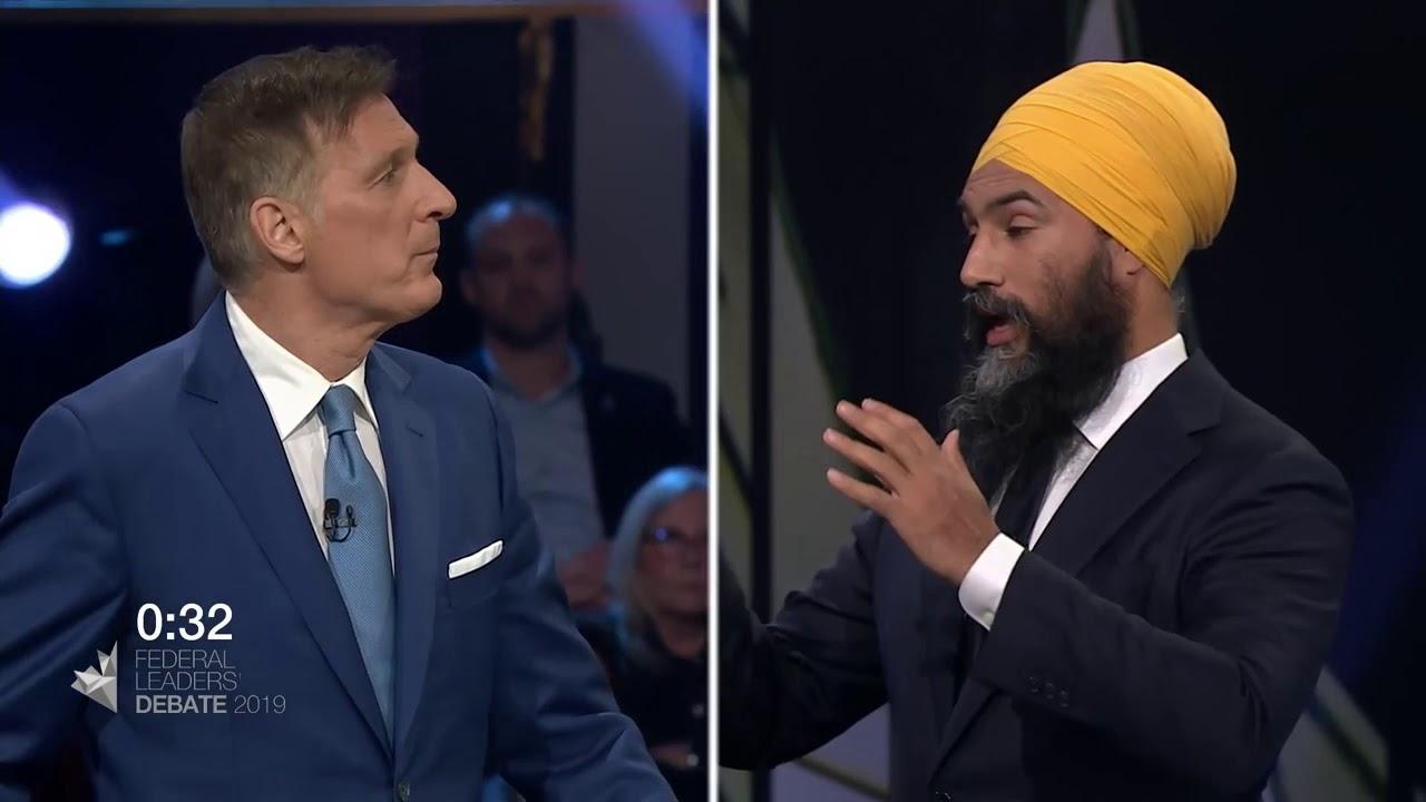 Jagmeet Singh debates Quebec's secularism law with Maxime Bernier