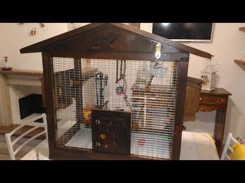 🔨 Gabbia per pappagalli cocorite fai da te legno con nido e mangiatoia silos