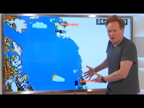 Conan O'Brien doing the weather report for Greenland in Greenlandic.