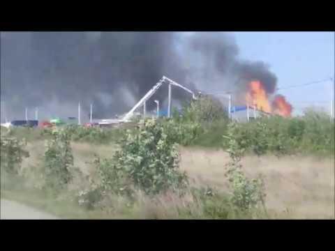 Сильный пожар, горит склад на п.Индустриальном#Краснодар