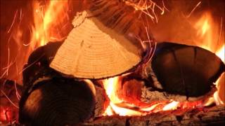 Best Fireplace video with Soft Rain & Thunder  10 HOURS