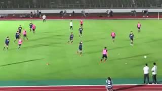サッカー日本代表合宿ミニゲームの2点目&3点目の場面