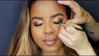 Makeup Artist Tutorial | WOC | Gold Cut Crease | Fall Makeup Look